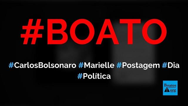 Carlos Bolsonaro postou foto com arma e flores minutos após a morte de Marielle, diz boato (Foto: Reprodução/Facebook)