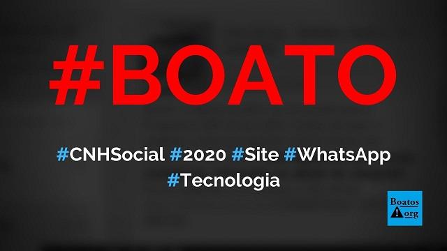 Detran abre inscrições para CNH Social 2020 em site no WhatsApp, diz boato (Foto: Reprodução/Facebook)
