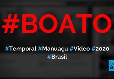 Vídeo mostra temporal que ocorreu hoje pela manhã (2020) em Manhuaçu (MG), diz boato (Foto: Reprodução/Facebook)
