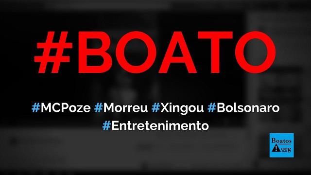 MC Poze do Rodo é baleado e morre após xingar Bolsonaro em show, diz boato (Foto: Reprodução/Facebook)