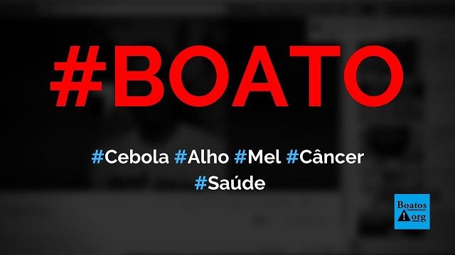 Receita de cebola roxa, alho e mel cura câncer, diz boato (Foto: Reprodução/Facebook)