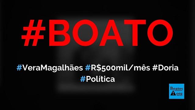 Vera Magalhães recebeu R$ 500 mil por mês de Doria (TV Cultura) para falar mal de Bolsonaro, diz boato Foto: Reprodução/Facebook)