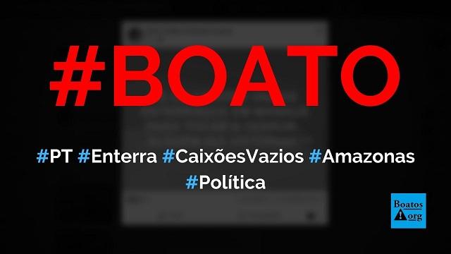PT manda enterrar caixões vazios para dar golpe em Bolsonaro, diz boato (Foto: Reprodução/Facebook)