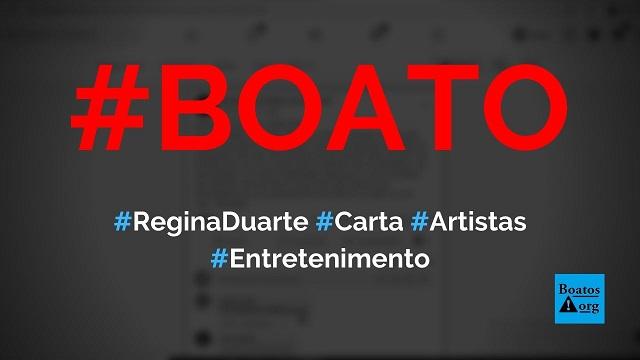 Regina Duarte escreve carta aos 500 artistas que assinaram nota de repúdio, diz boato (Foto: Reprodução/Facebook)
