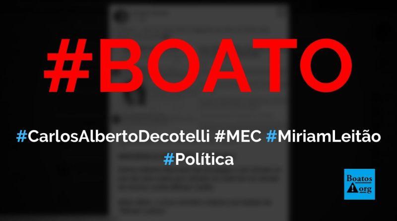 """Carlos Alberto Decotelli, ministro da Educação, chamou Miriam Leitão de """"Miriam Leitoa"""", diz boato (Foto: Reprodução/Facebook)"""