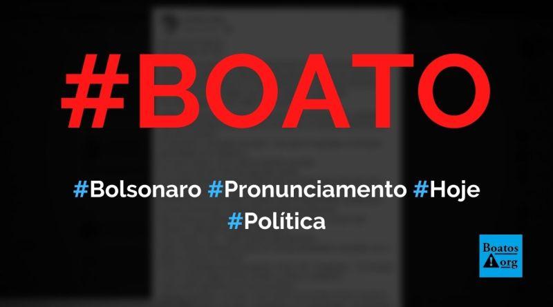 Bolsonaro fez pronunciamento enigmático sobre dias difíceis hoje, diz boato (Foto: Reprodução/Facebook)
