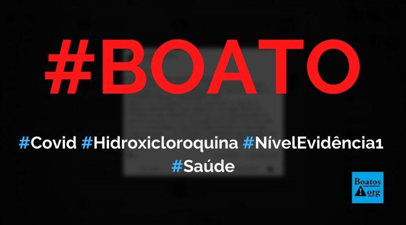 Universidade de Yale publicou estudo ontem que dá a hidroxicloroquina nível de evidência 1 no tratamento da Covid-19, diz boato (Foto: Reprodução/Facebook)