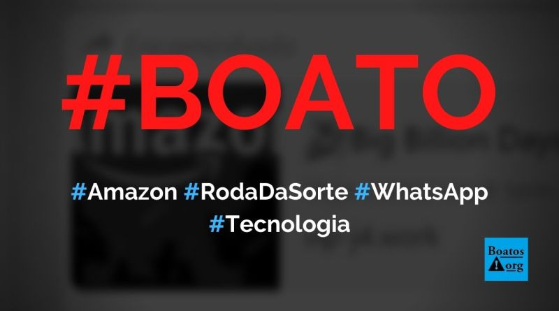 """Amazon dá prêmios em roda da sorte """"Big Billion Days"""" no WhatsApp, diz boato (Foto: Reprodução/WhatsApp)"""