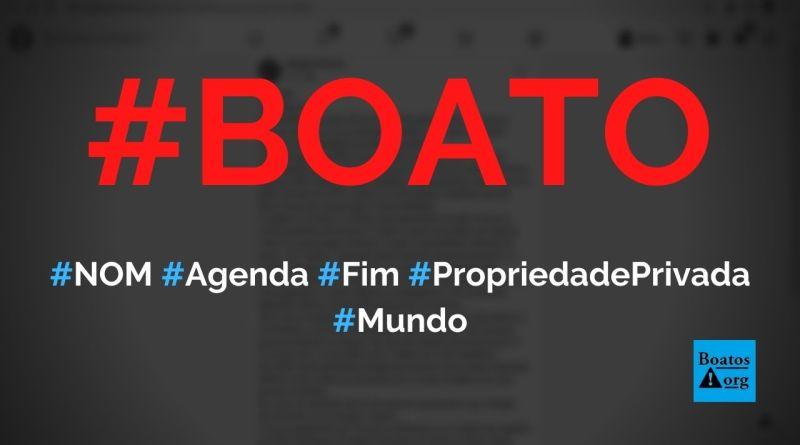 NOM é uma agenda globalista para 2030 que Trump e Bolsonaro tentam evitar, diz boato (Foto: Reprodução/Facebook)
