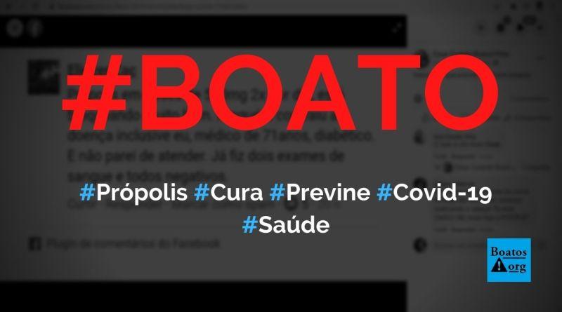 Própolis previne e cura a Covid-19, diz boato (Foto: Reprodução/Facebook)