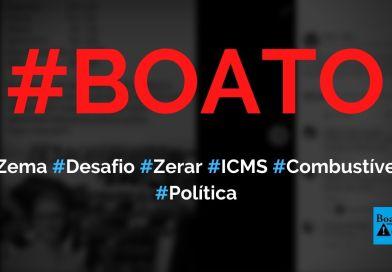 Zema aceita desafio de zerar o ICMS de combustíveis em Minas Gerais, diz boato (Foto: Reprodução/Facebook)