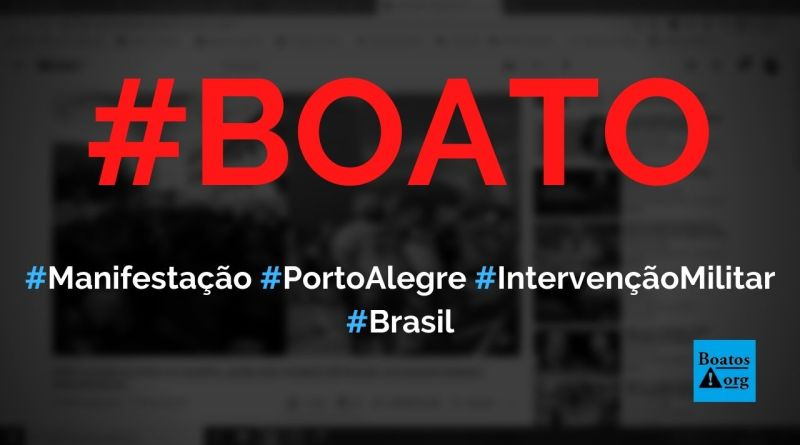 Manifestação na porta do quartel em Porto Alegre pede intervenção militar, diz boato (Foto: Reprodução/Facebook)