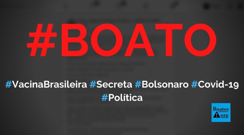 Vacina brasileira contra Covid-19 foi mantida em segredo por Bolsonaro, Pazuello e Fiocruz, diz boato (Foto: Reprodução/Facebook)