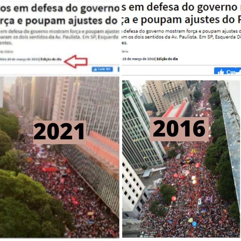 Comparação entre fotos de manifestações