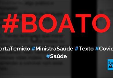 Marta Temido, ministra da Saúde de Portugal, dá 17 dicas sobre a Covid-19, diz boato (Foto: Reprodução/Facebook)