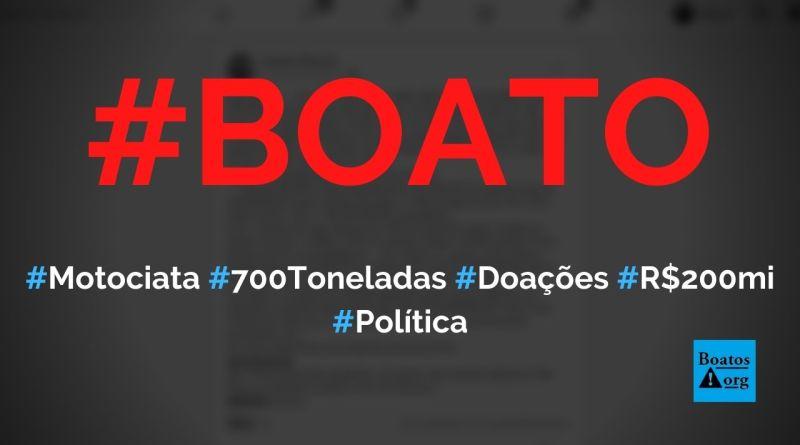 Motociata de Bolsonaro arrecadou 700 toneladas de alimentos em doações, diz boato (Foto: Reprodução/Facebook)