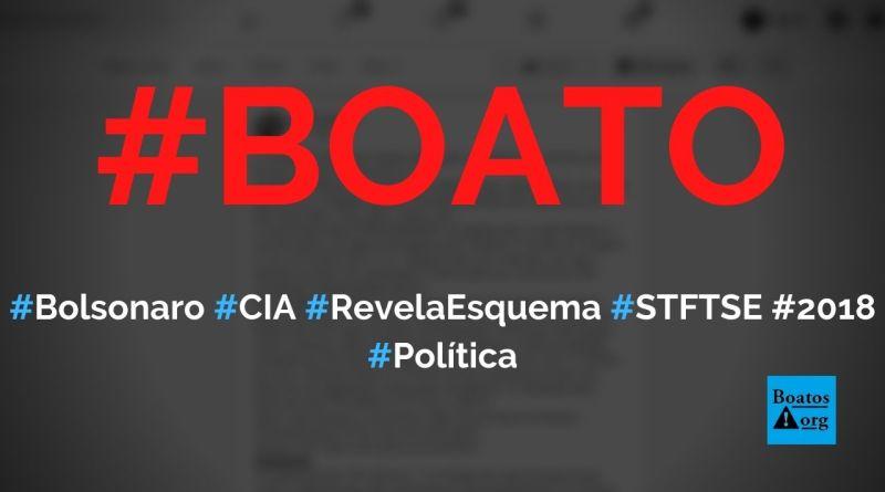 Bolsonaro acabou se revelar esquema de José Dirceu e STF, CIA disse que ele ganhou no 1º turno e TSE anulou 7,2 milhões de votos de 2018, diz boato (Foto: Reprodução/Facebook)