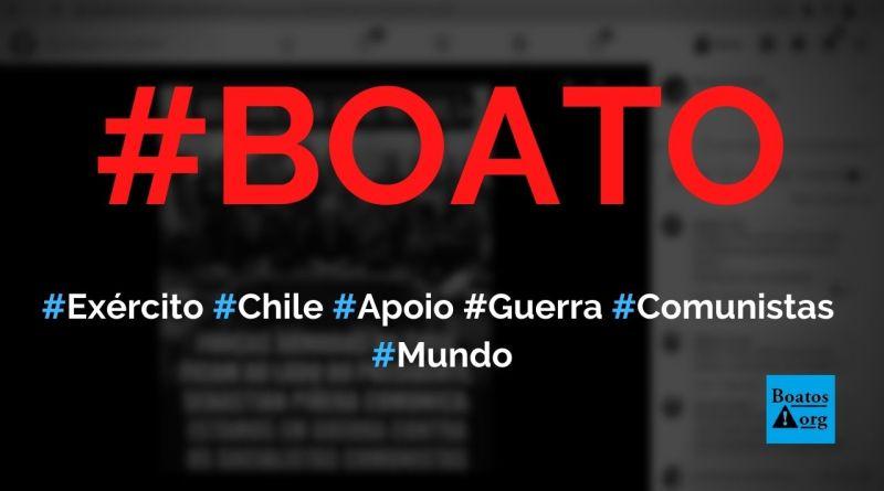 Forças Armadas do Chile entram em ação, ficam ao lado do presidente Sebastián Piñera e declaram guerra aos socialistas comunistas, diz boato (Foto: Reprodução/Facebook)