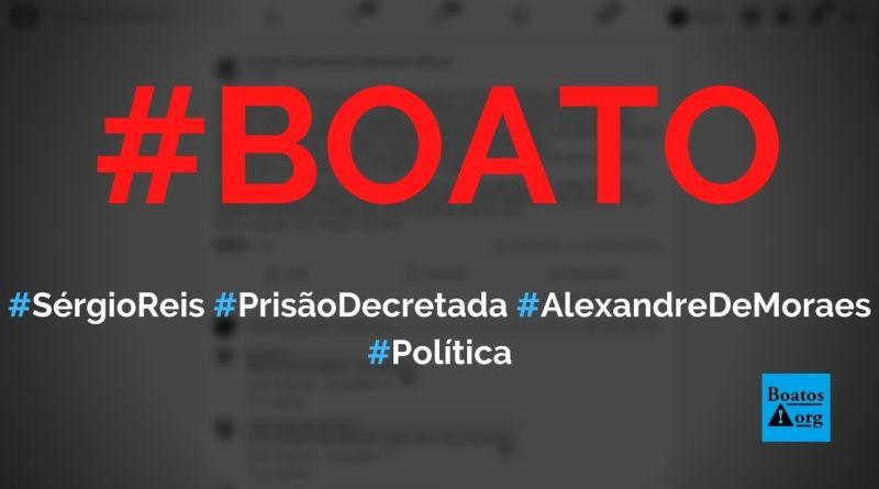 Prisão de Sérgio Reis acaba de ser decretada por Alexandre de Moraes, diz boato (Foto: Reprodução/Facebook)