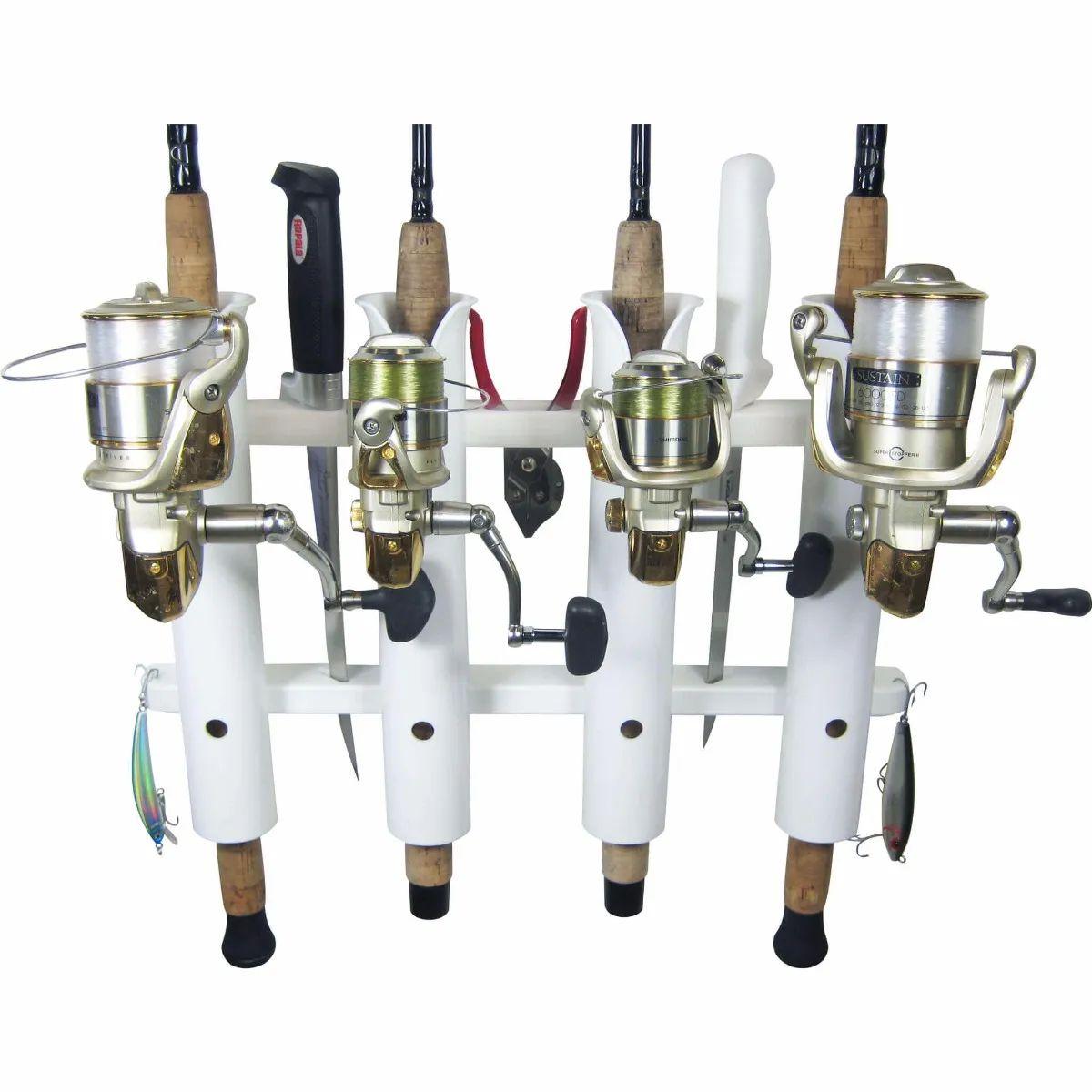 4 rod deluxe fishing rod holder rack white