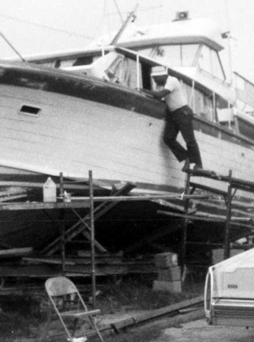 Bob Martin working on his 42-foot Owens in 1984