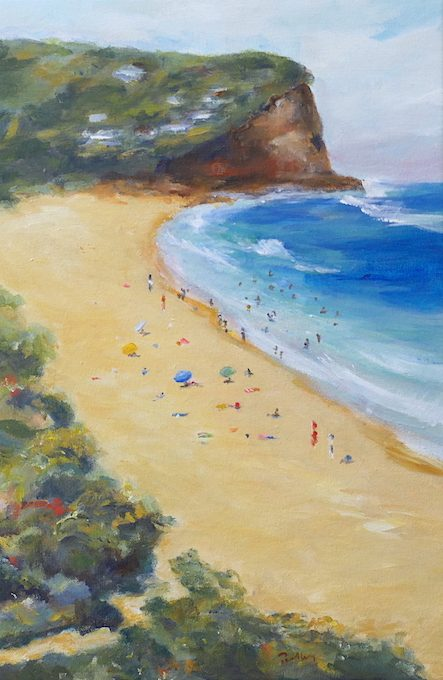 Copocabana Study - Robyn Pedley 52cm x 35cm, Acrylic on canvas, framed in white, Bobbie P Gallery