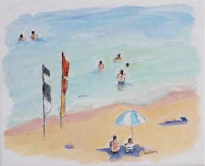 Summer Fun Flags & Umbrellas - Robyn Pedley, 20cm x 25cm, framed - oak