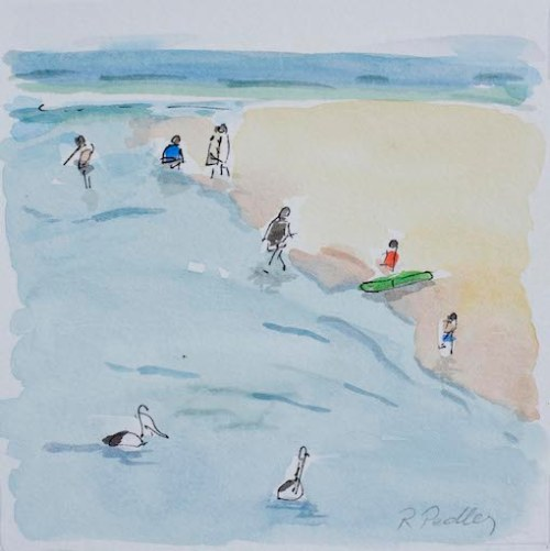"Summer Fun ""Pelicans"" - Robyn Pedley 14cm x 14cm, Watercolour on cotton rag, framed in white, Bobbie P Gallery"
