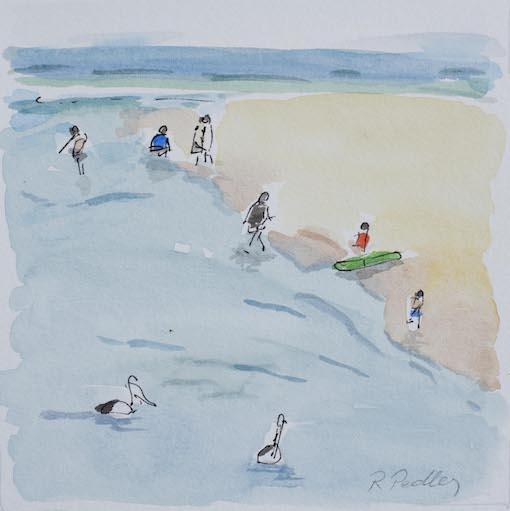 "Summer Fun ""Pelicans"" - Robyn Pedley 14cm x 14cm, Watercolour on cotton rag, framed in white, Bobbie P Gallery"