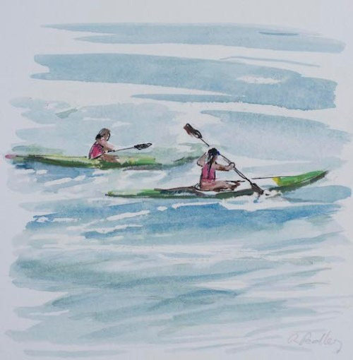 "Summer Fun ""The Race"" - Robyn Pedley 14cm x 14cm, Watercolour on cotton rag, framed in white, Bobbie P Gallery"