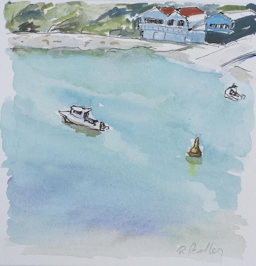 """Summer Fun """"Boats in Terrigal"""" - Robyn Pedley 14cm x 14cm, Watercolour on cotton rag, framed in white, Bobbie P Gallery"""