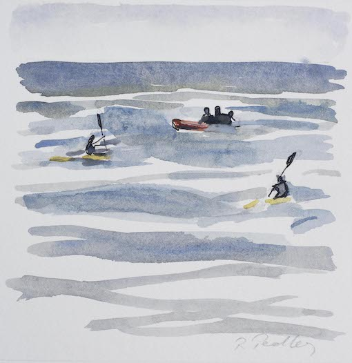 """Summer Fun """"Morning Paddle"""" - Robyn Pedley 14cm x 14cm, Watercolour on cotton rag, framed in white, Bobbie P Gallery"""