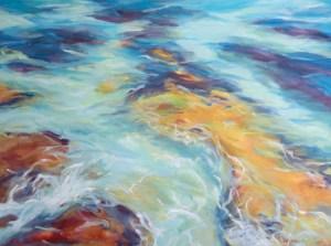 Oceans Flow - Robyn Pedley, 90cm x 120cm, framed -white
