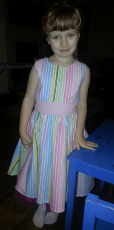 candy stripe dress bobbins and buttons