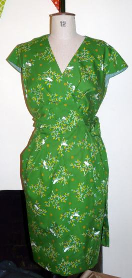 green wrap dress bobbins and buttons