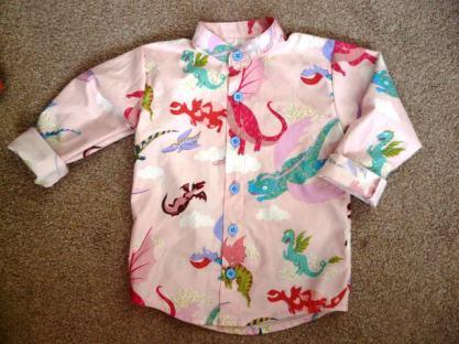 pink dragon shirt bobbins and buttons