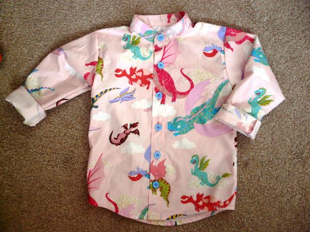 pink dragon shirt bobbins and buttons