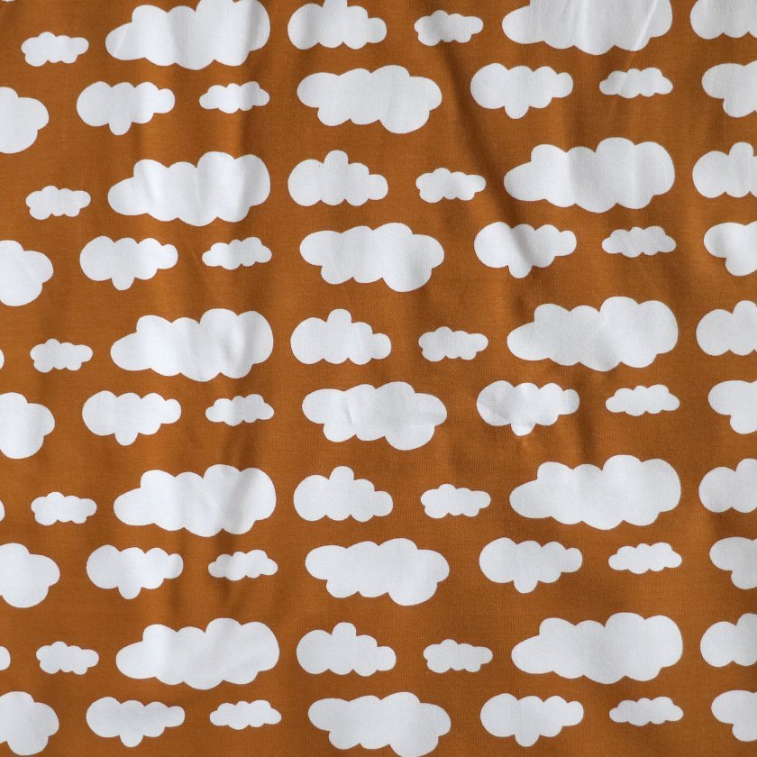 Fabric Cotton//elastane Black cloud print knit medium weight knit.