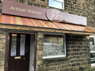 Finished signage for GG's Artisan Bakery and Health Store in Denby Dale, Huddersfield