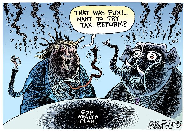 Donald Trump and Republican Elephant covered with soot after explosion of Obamacare repeal.  Trump says,