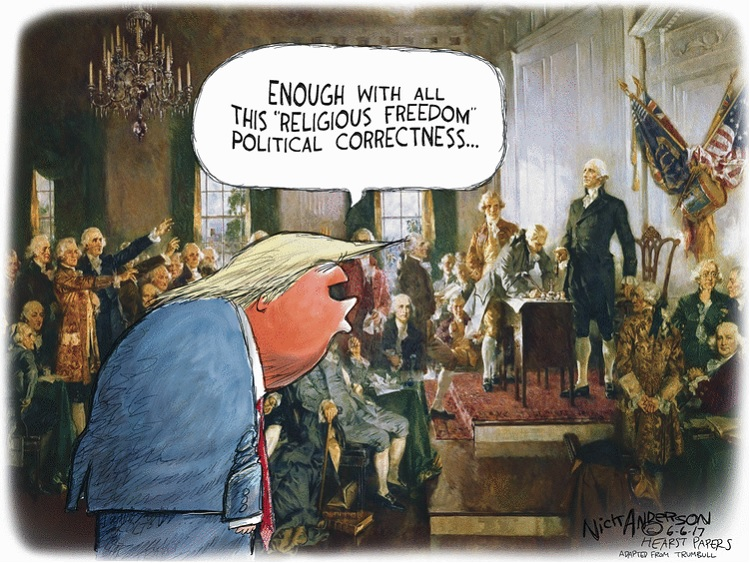 Donald Trump at the Constitutional Convention speaking to the Founding Fathers:  Enough with all thia