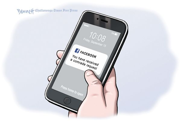 Image of Facebook on a snartphone displaying message,