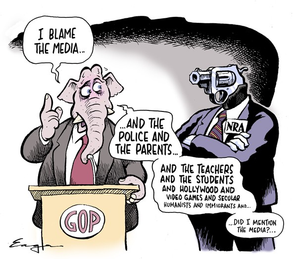 GOP Elephant standing at a microphone as a man with a head shaped like a gun and labeled