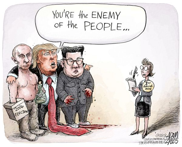 Donald Trump, with his arms around Vladimir Putin (who has a 2016 ballot box on one hand and a vial of poison in the other) and Kim Jong-Up (whose hands are bloodied), saying to a news reporter labeled