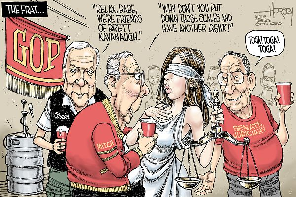 Orrin Hatch, Mitch McConnel, and the Senate Judiciary Committee holding cups of beer crowding around Lady Justice saying,
