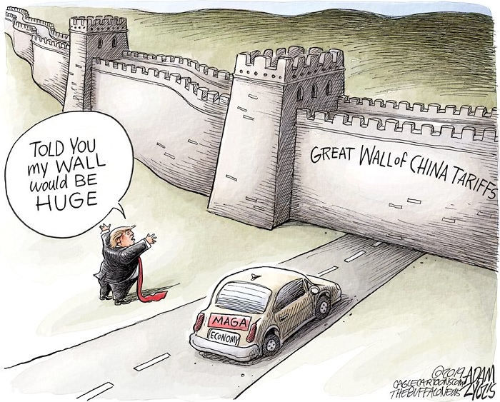 Trump, driving car with MAGA license plate, stopped before a wall spanning the road from one horizon to another.  The wall is labeled
