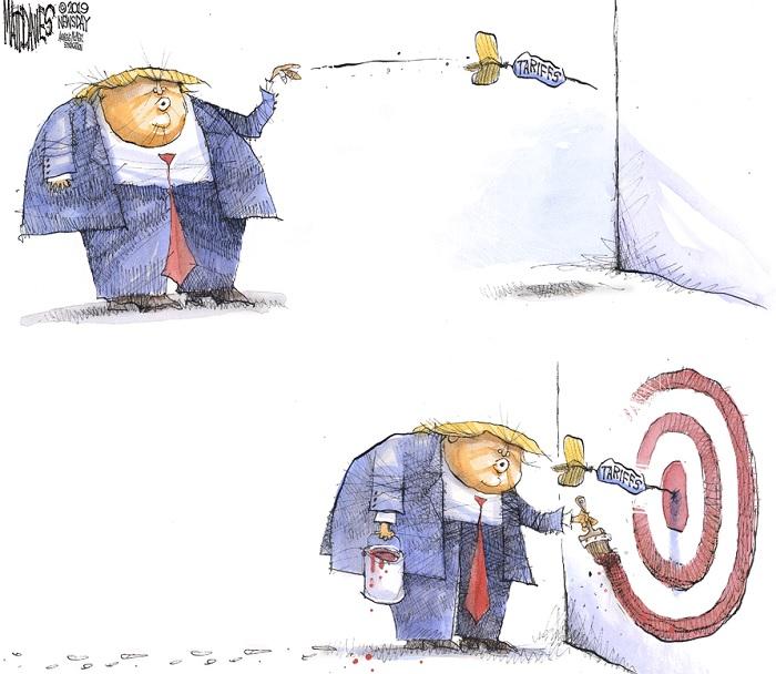 Donald Trump throws dart labeled