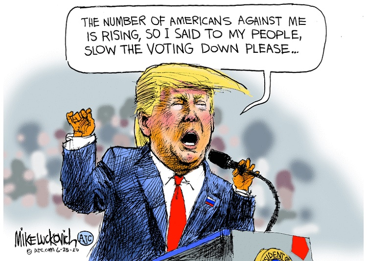 Donald Trump at podium saying,