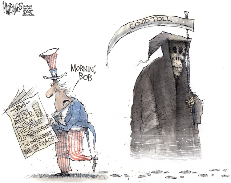 Uncle Sam, reading newspaper with headlines