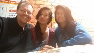 "Leslie and Yasmin teaching Bob the art of the Peruvian ""Selfie"""